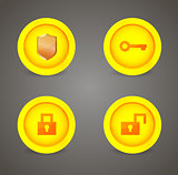 Set of glossy security icons