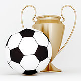 bronze cup and soccer ball on a white background