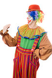 Clown speaks with his hand