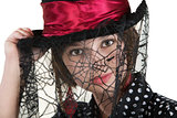 Lady in Spider Web Hat