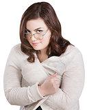 Smirking Lady in Sweater