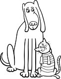 dog and cat cartoon for coloring book