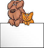 cat and dog with card cartoon design