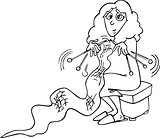 knitter woman cartoon illustration