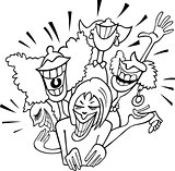 joyful group of women cartoon