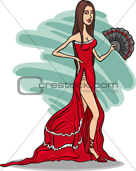 beautiful woman in red dress cartoon