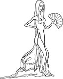 beautiful latino woman in dress cartoon