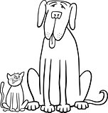 cat and dog cartoon for coloring book