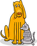 dog and cat in friendship cartoon illustration