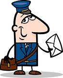 postman with letter cartoon illustration