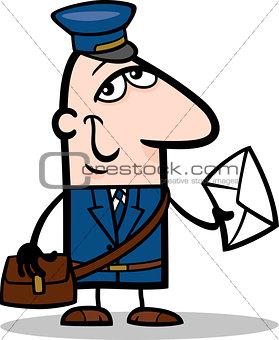 postman with letter cartoon illustration