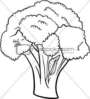 broccoli vegetable cartoon for coloring book
