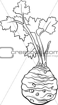 celery vegetable cartoon for coloring book