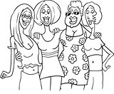 women friends cartoon illustration