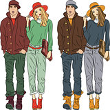 Vector fashion stylish guy and girl  in spring clothes