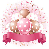 Pink Birthday balloons design