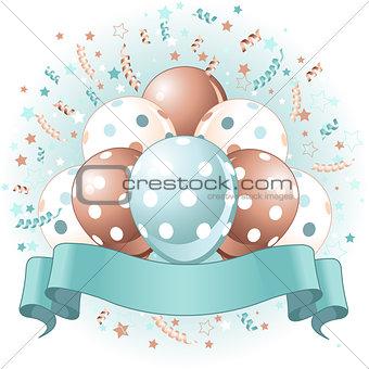 Blue Birthday balloons design