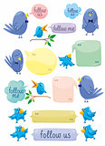 Blue Birds With Color Bubbles