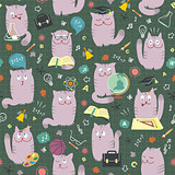 Cats At School - Seamless Pattern