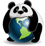 Panda on the globe