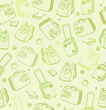 Vector pattern with bags, suitcases and backpacks on green backg