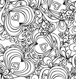  Seamless abstract hand-drawn pattern with hearts. 