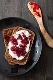 bread with creme fraiche and lingonberry jam
