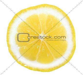 Slice of yellow lemon