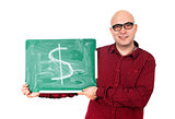 Man with dollar sign on a chalkboard