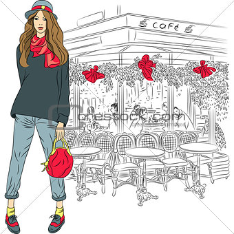 Vector lovely fashion girl on the background of Paris