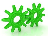Two green gears