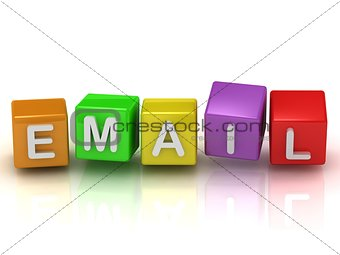 Email on color colorful cubes