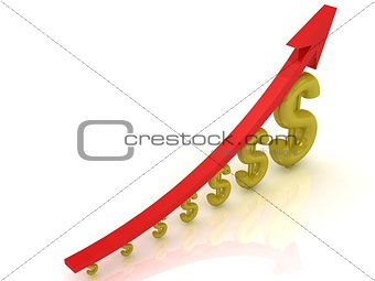 3D Illustration of the growth of the dollar with a red arrow