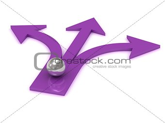 Silver ball at the intersection of three purple arrows
