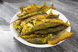 Deep Fried Whole Fish Seasoned with Curry Spices