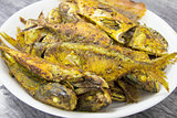 Deep Fired Fish with Curry Powder Closeup