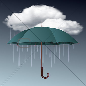 Rainy weather icon with clouds and umbrella.