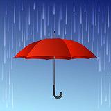 Red umbrella and rain drops.