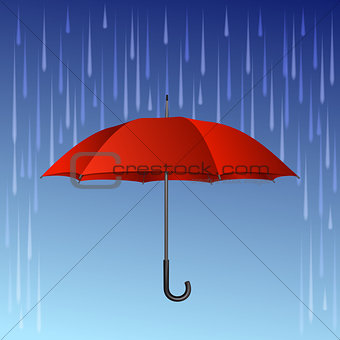 Red umbrella and rain drops.