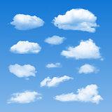 Set of Clouds on  blue sky.