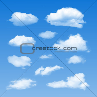 Set of Clouds on  blue sky.