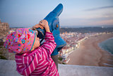 Girl looking at Nazare