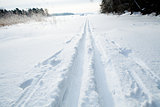 Skiing tracks in snow