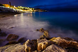 Romantic Cote d&#39;Azure Beach at Night, Nice, French Riviera, Fran