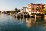 Romantic Cafe on the Garda Lake Shore in Sirmione, Italy