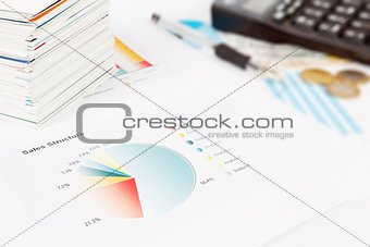 calculator, charts, pen, business cards, workplace businessman,