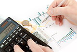 calculator, charts, pen in hand, business cards, money, workplace businessman, business