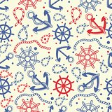 Red and navy seamless background with anchor, wheel, marine knots.