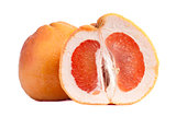 Red grapefruit, half and whole fruit, white background