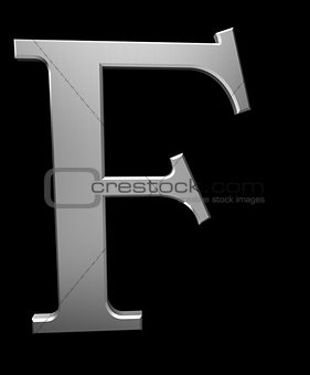 Letter F in brushed steel